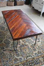 Make Your Own Reclaimed Wood Coffee Table by Remodelaholic Diy Wood Herringbone Coffee Table With Hairpin Legs