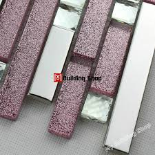 pink glass mosaic glass wall tile backsplash ssmt305 silver