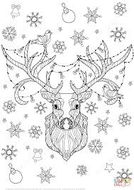 christmas deer with light bulbs garland zentangle coloring page