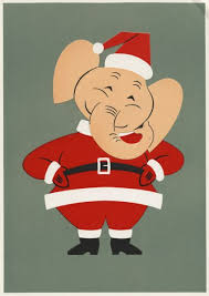 holiday card with elephant dressed as santa claus print