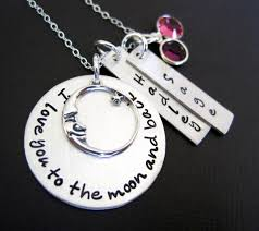 Personalized Hand Stamped Jewelry Personalized Hand Stamped Necklace Three Names And Birthstones