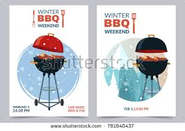 winter bbq party a4 invitation template stock vector 781640437