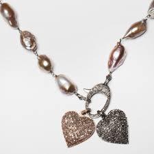 large pink baroque pearl chain with diamond clasp u2013 ellen mohr designs