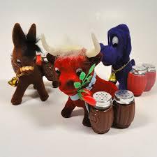 funky flocked purple hound dog salt pepper shaker holder from