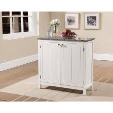 K  B White And Faux Marble Small Kitchen Island Cabinet Free - Kitchen cabinets overstock