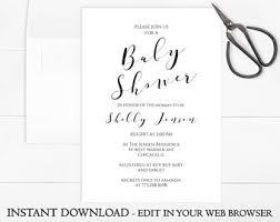 printable baby shower invitations printable baby shower invitation etsy