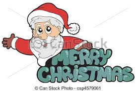 merry christmas sign merry christmas sign with santa vector illustration vector clip