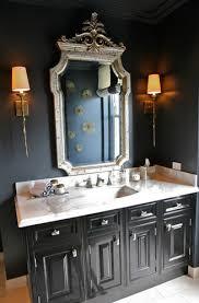 elegant bathroom with black walls paint color silver ornate