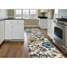 rug runners contemporary contemporary yellow blue floral beige runner rug 2 x 7 2