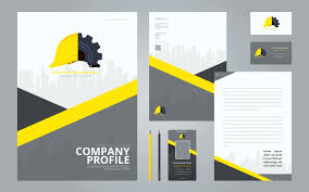 free download layout company profile template construction brochure template logos in stationery set