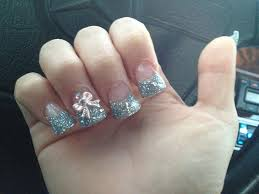 flared silver glitter tips w 3d nail art pink bows on both ring