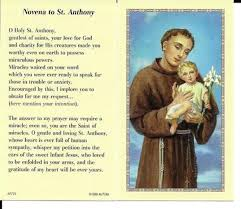prayer cards novena to anthony of padua prayer card