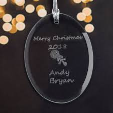 etched glass ornaments personalized laser etched baby rattle glass ornament