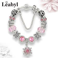 pandora beaded bracelet images Buy 2017 pink crystal snowflake charm pandora jpg