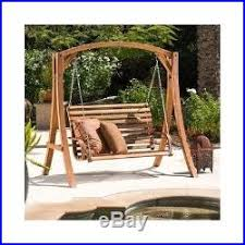 outdoor yard swing bench wood loveseat hammock patio furniture
