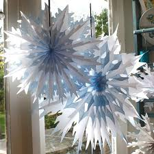 paper snowflake decorations white blue tipped