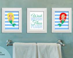 mermaid bathroom art printable digital download little