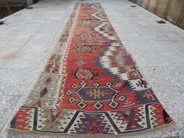 Aztec Runner Rug 2 8 X 14 2 Ft Vintage Extra Long Turkish Handmade Hallway Kilim