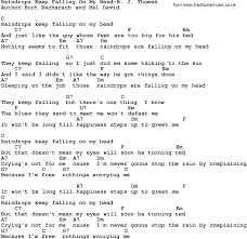 country music raindrops keep falling on my head b j thomas lyrics