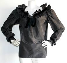 black ruffle blouse vintage yves laurent black ruffle blouse from