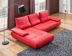 living room small red leather tufted sectional couch with large