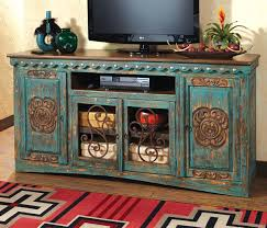 Rustic Tv Console Table Western Furniture Santa Turquoise Entertainment Console