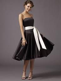empire linie tragerlos knielang tull brautjungfernkleid mit drapiert p662 a linie princess stil trägerloser ausschnitt schwarz belt satin
