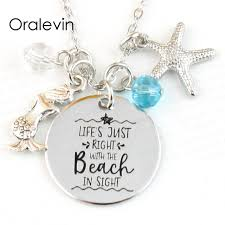 Personalized Disc Necklace Aliexpress Com Buy Life U0027s Just Right With The Beach In Sight