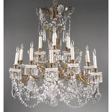 Baccarat Chandelier Mid 20th C Signed Baccarat 18 Light Tiered Chandelier
