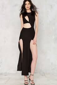 nasty gal cutout of excuses maxi dress in black lyst