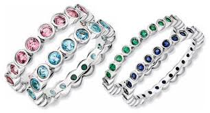 stacked birthstone rings mothers eternity rings set with birthstones stackable