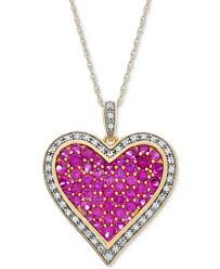 pink ruby necklace images Lab created ruby 2 1 5 ct t w white sapphire 1 5 ct t w tif