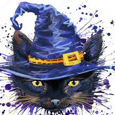 cat halloween background halloween cat witch watercolor illustration background for the