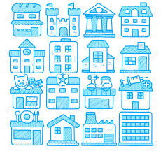 european houses hand drawn european houses buildings store travel icons royalty