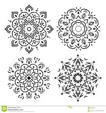 set of line circle ornaments in vector isolated black on white
