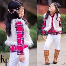 hair accessory white vest fur fur vest plaid shirt flannel