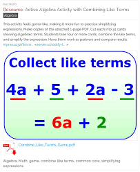 11 best math algebra like terms images on pinterest combining