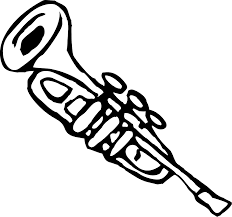 trumpet 3 black white line music art coloring sheet colouring page