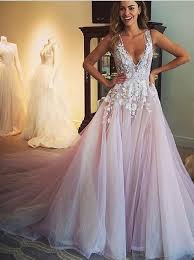 pink lace wedding dress 2016 v lace appliqued pink tulle sweep prom dress
