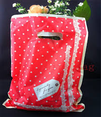 100pcs 25x35cm dots print plastic gift bag shopping bags with