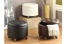 furniture round storage ottoman tufted leather ottoman