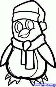 draw christmas penguin step step christmas stuff