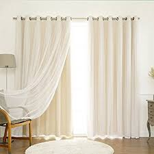 Beige And White Curtains Best Home Fashion Mix Match Wide Width Tulle Lace