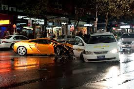 lamborghini gallardo hits a taxi and t bones another in sydney