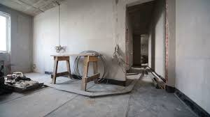 interior concrete walls room with grey concrete walls without finishing and building