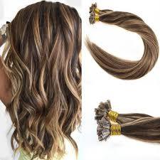 keratin tip extensions flat tip hair extensions brown highlight fusion hair