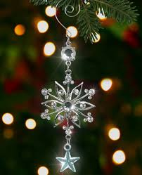 silver snowflake ornament silver metal and clear