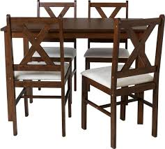 Buy HOME Ava Solid Walnut Dining Table   Chairs Cream At Argos - Walnut dining room chairs