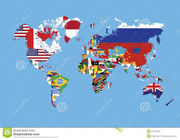 World Map Countries World Map Colored In Countries Flags No Names Royalty Free Stock