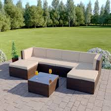 Outdoor Rattan Corner Sofa 7 Piece Acapulco Modular Rattan Corner Sofa Set In Brown With
